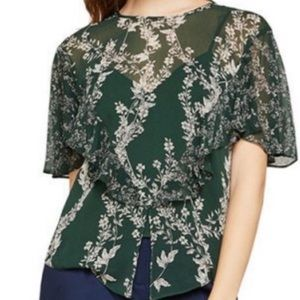 BCBGMAXAZRIA Sheer floral top with camisole